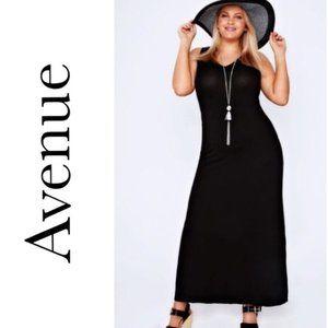 Avenue Black Sleeveless Knit Stretch Maxi Dress